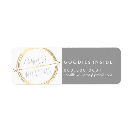 MODERN ARROW LOGO gold foil rustic hand drawn Return Address Label
