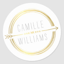 MODERN ARROW LOGO gold foil rustic hand drawn Round Sticker