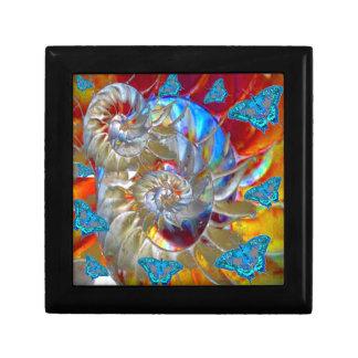 MODERN ART BLUE BUTTERFLIES ABSTRACT GIFT BOX