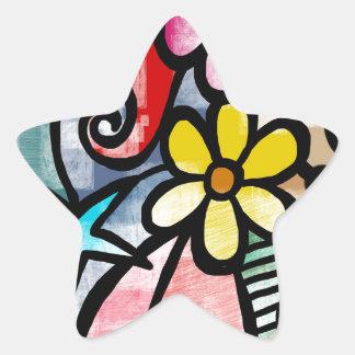 modern Art Colors Design Star Sticker