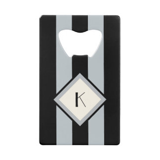 Modern Art Deco Black and Silver Stripes Monogram