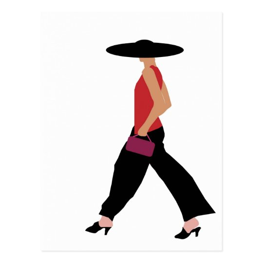 Modern Art Deco fashion girl red black Postcard