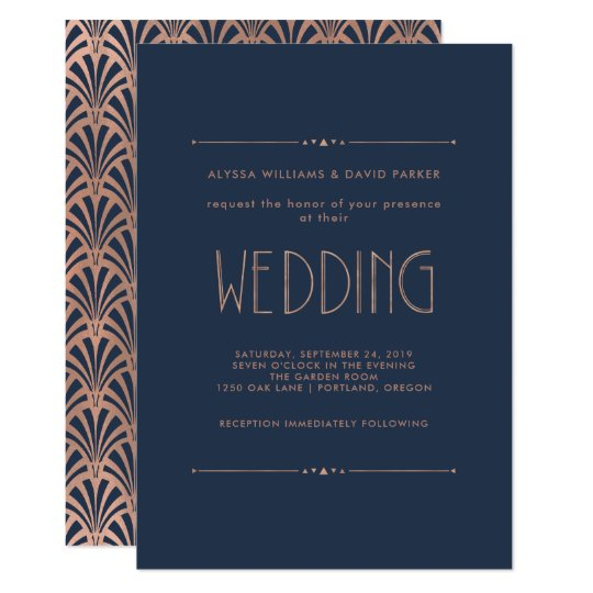Modern Art Deco | Faux Rose Gold on Blue Wedding Card