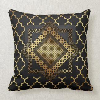 Modern Art Deco Golden 3D Black Pillow