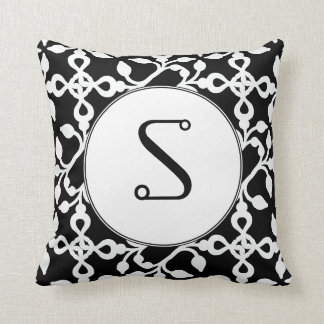 Modern Art Deco Monogram Black And White Throw Pillow