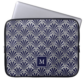 Modern Art Deco | Navy and Faux Silver Monogram Laptop Sleeve