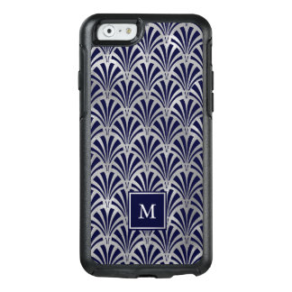 Modern Art Deco | Navy and Faux Silver Monogram OtterBox iPhone 6/6s Case