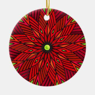 Modern Art Deco Poinsettia - Round (Personalized) Ceramic Ornament
