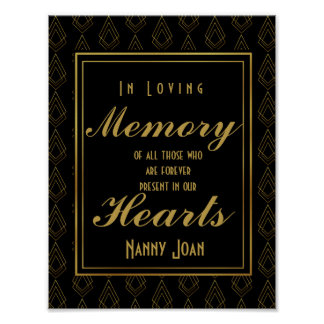 Modern art deco style Gold Cut In loving memory Poster