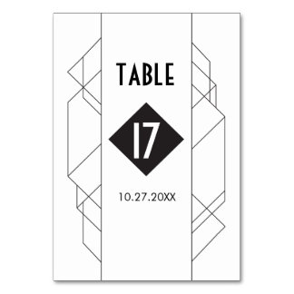 Modern Art Deco Table Number Cards Table Cards