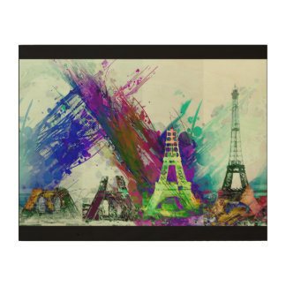 Modern Art Eiffel Tower Construction Paris France Wood Prints