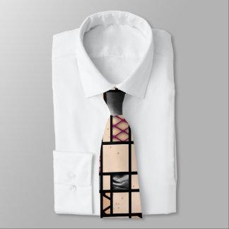 Modern Art Fishnet Skin & Leather Grid Pattern Tie