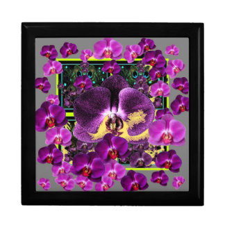 Modern Art Grey-Purple Pink  Orchids Art gifts Large Square Gift Box