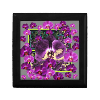 Modern Art Grey-Purple Pink  Orchids Art gifts Small Square Gift Box