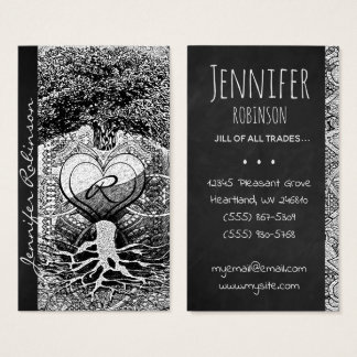 Modern Art Heart, Yin Yang, Tree of Life Business Card