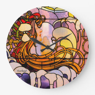 Modern art in the stained glass style. large clock