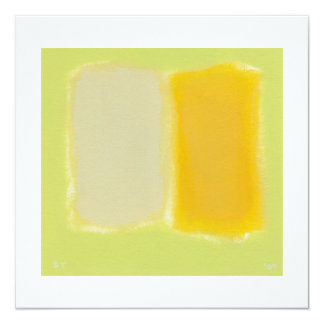 "Modern art minimalist painting sunny warm colorful 5.25"" square invitation card"