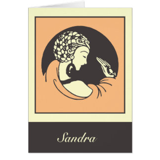 Modern Art Nouveau the lady with a ring Card