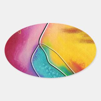 Modern art oval sticker