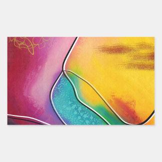 Modern art rectangular sticker