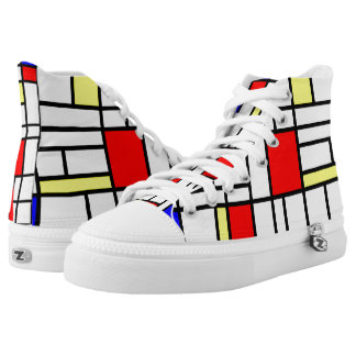 Modern Art Red Yellow Blue Grid Pattern Shoes