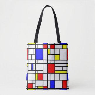 Modern Art Red Yellow Blue Grid Pattern Tote Bag