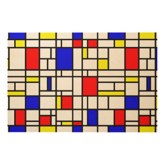 Modern Art Red Yellow Blue Pattern Wood Wall Art
