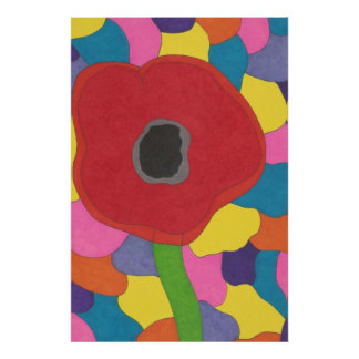 Modern Art Stained Glass Poppy Poster Print