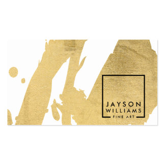 Modern Artist Abstract Faux Gold Brushstrokes Pack Of Standard Business Cards