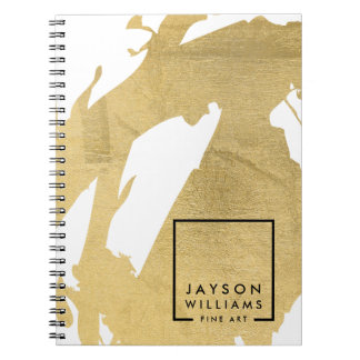Modern Artist Abstract Faux Gold Brushstrokes Spiral Notebooks