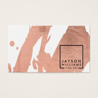 Modern Artist Abstract Faux Rose Gold Brushstrokes Business Card