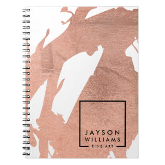 Modern Artist Abstract Faux Rose Gold Brushstrokes Notebook