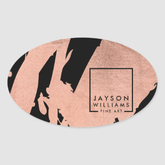 Modern Artist Abstract Rose Gold/Black Brushstroke Oval Sticker