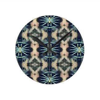Modern Artistic Blue Cream Tribal Pattern Clock
