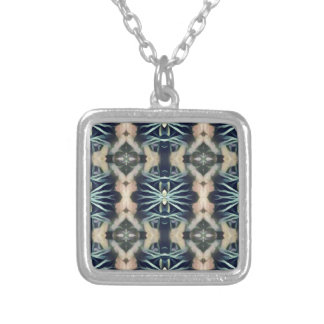 Modern Artistic Blue Cream Tribal Pattern Silver Plated Necklace