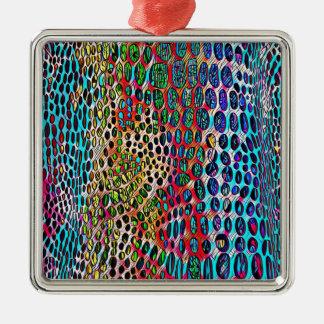 Modern Artistic Fall Toned Snake Skin Pattern Metal Ornament