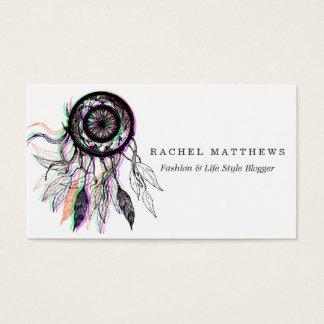 Modern Artistic Native American Dreamcatcher Business Card