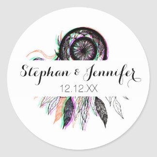 Modern Artistic Native American Dreamcatcher Classic Round Sticker