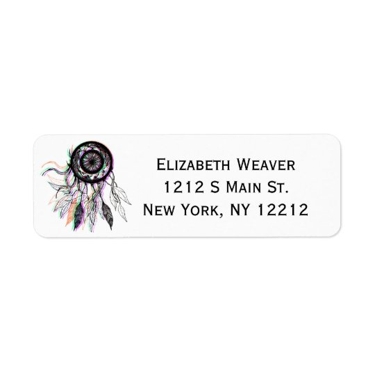Modern Artistic Native American Dreamcatcher Return Address Label