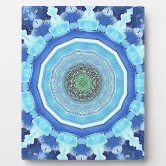 Modern Artistic Shades of Blue Mandala Plaque