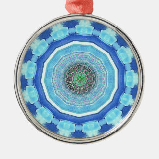 Modern Artistic Shades of Blue Mandala Silver-Colored Round Decoration