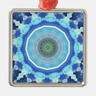 Modern Artistic Shades of Blue Mandala Silver-Colored Square Decoration