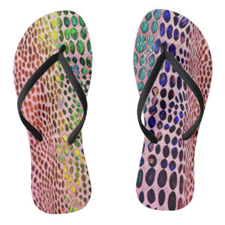 Modern Artistic Spring Pastels Snake Skin Pattern Thongs