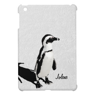 Modern Artsy Black White Penguin Personalized Cover For The iPad Mini
