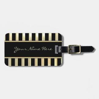 Modern Asymmetric Sparkly Champagne & Gold Stripes Luggage Tag