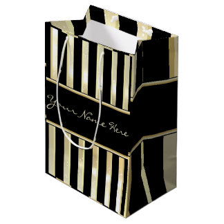Modern Asymmetric Sparkly Champagne & Gold Stripes Medium Gift Bag