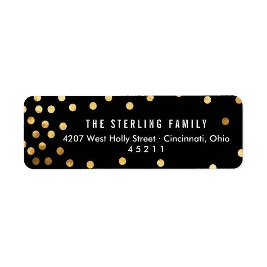 Modern Asymmetrical Confetti Dots Holiday Return Address Label