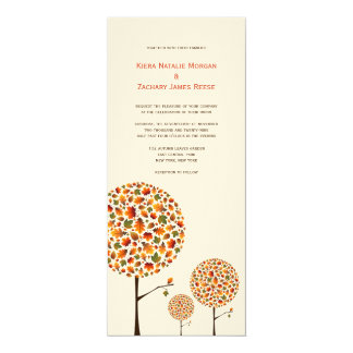 Modern Autumn Fall Leaves Pop Tree Wedding Invite