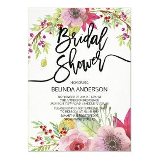 Modern Autumn Floral Bridal Shower Invitation