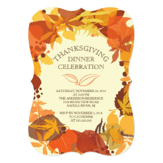 "Modern Autumn Leaf Thanksgiving Dinner Invitation 5"" X 7"" Invitation Card"